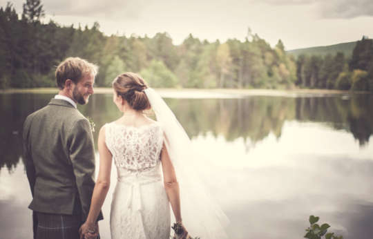 Bride and Groom Glen Tanar Lake