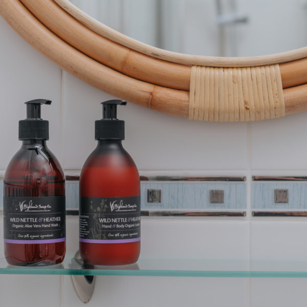 Luxury products from Highland Soap Company (Wild Nettle and Heather organic hand and body lotion)