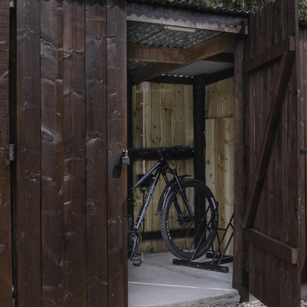 Secure wooden shed for bikes and other outdoor gear